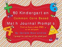 180 Kindergarten Math Journal Prompts (Common Core Based)