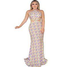 4de902dd9 Madame Chic · Vestidos Estampados · Vestido de Festa Longo Estampado  Recortes Laterais