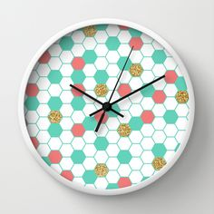 Mint Coral Gold Glitter Honeycomb Scatter Wall Clock