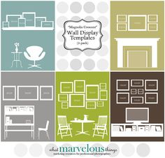 These digital files allow you to see how your picture arrangements will look before you put any holes in your walls. Nice!    PRODUCT DETAILS:  These files are digital Photoshop templates which can be customized in the following ways: you can change the wall color, move the furniture, insert your own photos, or create entirely new picture wall displays. You will need Photoshop to customize these templates. They are perfect for photographers who want to show their clients what different…