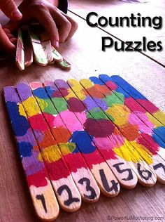 Counting popsicle stick puzzles – fun arts and crafts for kids Preschool Learning, Toddler Activities, Preschool Activities, Activities For Kids, Toddler Preschool, Number Activities, Preschool Letters, Popsicle Stick Crafts, Popsicle Sticks