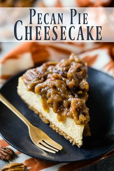 Pecan Pie Cheesecake: Creamy, New York-style brown sugar cheesecake over a buttery graham cracker crust, with the most decadent gooey pecan pie topping! #pecanpiecheesecake #pecanpie #cheesecake #easy #recipe #bars #thanksgiving #best #grahamcrackers #bourbon #chocolate #squares #topping #homemade #caramel #brownsugar #carmel #dessert #simple #cake #withoutcornsyrup #bakingamoment Pecan Cheesecake Squares, Easy Cheesecake Recipes, Carmel Pecan Cheesecake, Simple Cheesecake, Cheesecake Pie, Homemade Cheesecake, Classic Cheesecake, Graham Crackers, Köstliche Desserts