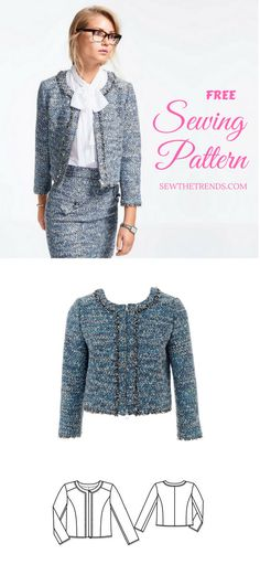 BOUCLE JACKET SEWING PATTERN (FREE) Women's boucle jacket sewing pattern available for download. Available in various sizes 34, 36, 38, 40, 42, 44.