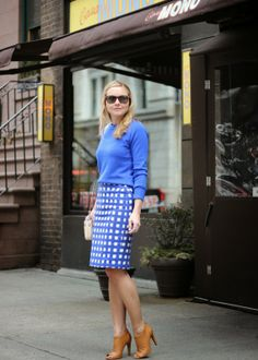 The Steele Maiden: NYC street style wearing cobalt blue sweater and gingham pencil skirt, Lulu Frost cocktail ring, Rebecca Minkoff bag and Sole Society heels
