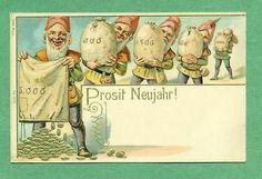 B4451 Early Elf postcard, New Year Money, Gold trim
