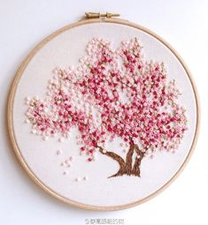 Pink Flower Tree - Embroidery 穿高跟鞋的树的微博_weibo