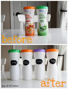 Puff Containers + Target dollar spot stickers= easy storage!