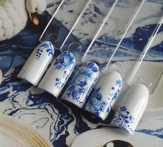 Like my favorite kind of China Manicure Nail Designs, Cute Nail Designs, Nail Manicure, Sparkle Nails, Fun Nails, Sculpted Gel Nails, China Nails, Mandala Nails, Vintage Nails