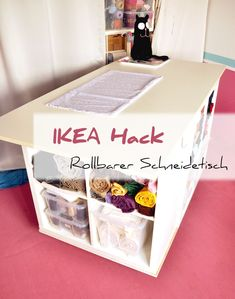 Hottest Totally Free New Pic Build your own individual desk or cutting table and use my IKEA . Tips The IKEA Kallax line Storage furniture is a vital part of any home. They give purchase and assist Ikea Kallax Hack, Ikea Raskog, New Swedish Design, Hacks Ikea, Cutting Tables, Sewing Table, Sewing Rooms, Craft Storage, Sewing Hacks