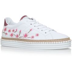 Hogan Rebel Embroidered Sneakers (¥35,660) ❤ liked on Polyvore featuring shoes, sneakers, embroidered shoes, espadrille shoes, embroidered sneakers, lacing sneakers and low top