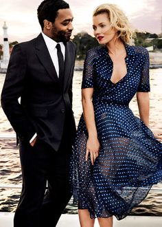 Chiwetel Ejiofor and Kate Moss photographed by Mario Testino for Vogue (December 2013).