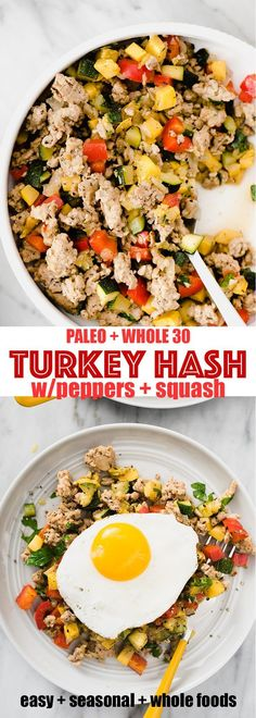 Ground turkey hash is one of my favorite and paleo breakfast prep recipes. It's a fast easy hearty and healthy ground turkey recipe that's naturally paleo gluten free and low carb. Ground turkey hash i Whole Foods, Paleo Whole 30, Whole 30 Meals, Clean Eating Recipes, Clean Eating Snacks, Healthy Eating, Clean Foods, Turkey Hash, Turkey Chili