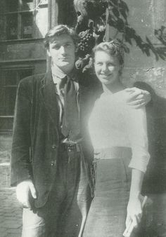Sylvia Plath and Ted Hughes in Paris just after their honeymoon in Benidorm, Spain, 1956