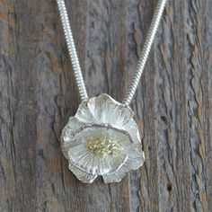 small flower pendant silver flower necklace mixed by lynncobb, $155.00