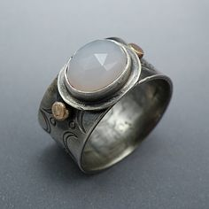Wide Sterling Silver Ring Blue Chalcedony 14k Gold southwest stamped jewelry,  Size 7 - Desert Sun
