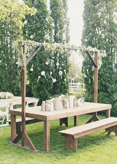 Magical bohemian-style wedding - Have everyone sit on picnic tables instead of formal seating.