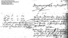 "A photo of the Dutch marriage record for future Mayflower ship passengers Isaac Allerton and Mary Norris, from 1611. Read more on the GenealogyBank blog: ""Researching Your Pilgrim Ancestry from Mayflower Ship Passengers."""