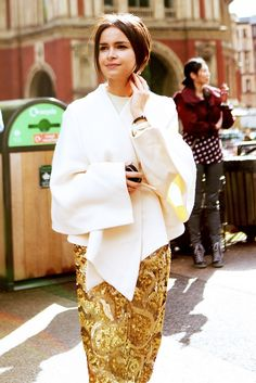 Miroslava Duma // Bold sequin skirt with an origami-inspired cover-up.