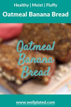 This healthy Oatmeal Banana Bread is made with simple ingredients like oats, ripe bananas, warm spic. Greek Yogurt Banana Bread, Oatmeal Banana Bread, Yogurt Bread, Greek Yogurt Oatmeal, Healthy Bread Recipes, Banana Bread Recipes, Healthy Snacks, Gluten Free Banana Bread, Healthy Banana Bread