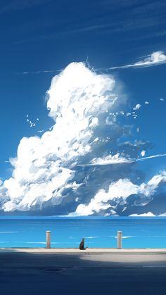 Pixiv Id 2033916 Image - Zerochan Sky Anime, Anime Art, Fantasy Landscape, Landscape Art, Animes Wallpapers, Cute Wallpapers, Aesthetic Art, Aesthetic Anime, Aesthetic Drawing
