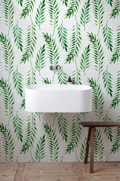 OFF from Fern leaves wallpaper, Leaves pattern, Tropical wall mural, Washable Wallpaper, Vinyl Wallpaper, Pattern Wallpaper, Leaves Wallpaper, Interior Paint Colors For Living Room, Bohemian Room Decor, Wall Spaces, Interiores Design, Wall Murals