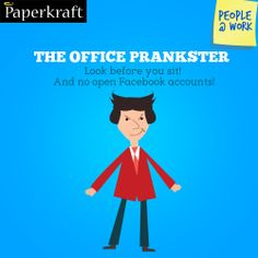 #Funny #Jobs #PeopleAtWork #Colleagues #work NEVER leave your Facebook page open. Beware the Office Prankster!