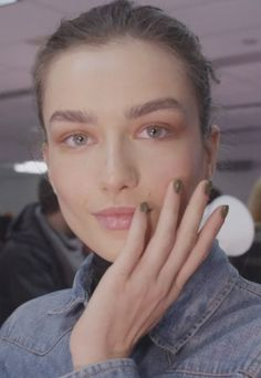 Trend-Check out the beautiful, thick eyebrows too and very subtle make-up-Sally Hansen nails at Prabal Gurung autumn winter 2013.
