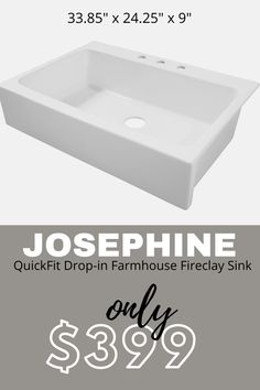 Taking your kitchen to the next level is simple (and beautiful!) with the Josephine QuickFit Fireclay kitchen sink from Sinkology. The Josephine is ideal for weekend warriors: the DIY homeowners who want high-end appeal with drop-in mounting options for fast, simple upgrades. Single Bowl Kitchen Sink, Farmhouse Sink Kitchen, Farm Sink, Kitchen Pantry, Farmhouse Kitchen Inspiration, Farmhouse Design, Rustic Design, Kitchen Ideas, Kitchen Decor