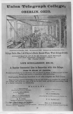 """ID# 0333 Date: 1873. This image is an advertisement in the Oberlin City Directory of 1873. The college was located on the second floor of #33 West College, one of the buildings that were demolished in 1993 for the new Oberlin Consumers Cooperative Bookstore. (Currently the Oberlin Bookstore). The advertisement offers a """"Life Scholarship"""" for $35. Participant: Oberlin College Archives"""