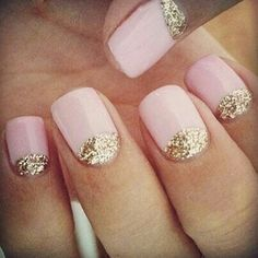 Soft pink nails with gold moon. Lunula. Pretty nails.