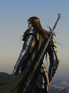 Long haired knight in shining black plate with magical longsword