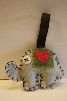 Olive Felt bead elephant medium keychain by inajuicebox on Etsy, $5.00  www.inajuicebox.etsy.com