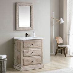 Shop for Rustic Style 30-inch Single Sink Bathroom Vanity. Get free delivery at…