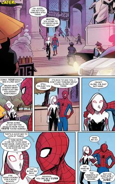 """Spider-Gwen: Ghost Spider - """"You Can't Stop the Beat"""" """"written by Seanan McGuire art by Takeshi Miyazawa, Rosi Kampe, & Ian Herring """" Spiderman And Spider Gwen, Spiderman Girl, Parker Spiderman, Amazing Spiderman, Spiderman Marvel, Marvel Memes, Marvel Dc Comics, Ms Marvel, Unbeatable Squirrel Girl"""