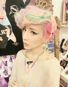 pink and green hair inspo