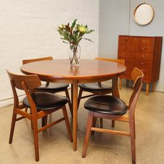 Around the dining table. Swedish #teak and #oak extension table. Seats 4 to 10. #midcentury #restored #vintage #fitzroy #interiordesign