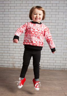 Fair isle sweater and black jersey jeans. Available from www.ohbabylondon.com