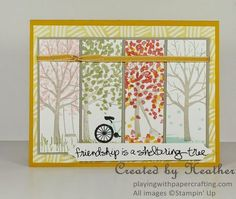 Include all four seasons of the year using Sheltering Tree stamp set from Stampin' Up! Friendship Cards, Stamping Up Cards, Tampons, Fall Cards, Creative Cards, Four Seasons, Scrapbook Cards, Homemade Cards, Making Ideas