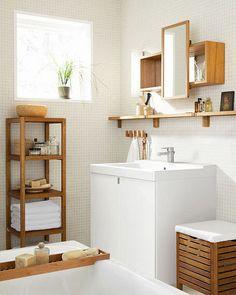 Monger shelves for bathroom Bamboo Bathroom, White Bathroom Tiles, Boho Bathroom, Deco Spa, Ikea Shelves, Small Bathroom Storage, Bathroom Interior Design, Minimalist Home, Bathroom Inspiration