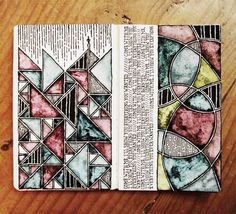 Illusion: Irish artist Rebecca Blair has a beautiful and consistent collection of drawings on her Tumblr page. Her work includes detailed line and lettering art, and what is interesting is that on some pages, there are watercolor shapes that mimic stained glass windows. Artwork/photos © Rebecca Blair. http://illusion.scene360.com/art/41557/inspired-from-a-900-year-old-art-form/