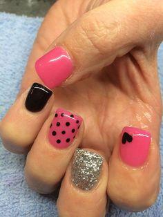 heart nails, polka dots, valentine day, pink nails, nail designs, nail arts, black nails, valentine nails, nail ideas