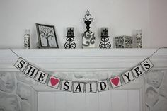 SHE SAID YES - Bridal Shower Banner - Wedding Banner -Engagement Party Decoration - Photo Prop on Etsy, $24.00