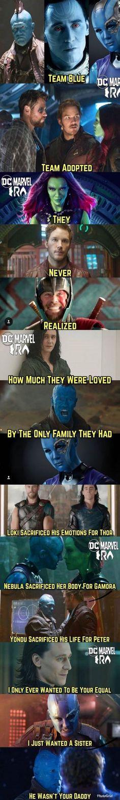 "fall memes Loki was adopted, not Thor. Nebula didn't *willingly* sacrifice her body for Gamora. Gamora beat her fair and square, Thanos ""upgraded"" Nebula effectively as punishment, and Nebu Marvel Jokes, Funny Marvel Memes, Dc Memes, Avengers Memes, Marvel Dc Comics, Funny Memes, Funny Quotes, Marvel Villains, Marvel Art"