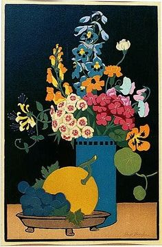 Flowers and Fruit  John Hall Thorpe (1874 Victoria - 1947 London) Australian - English woodblock printer and painter