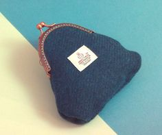 Harris tweed purse teal sea green gifts for women by RosesWorkshop