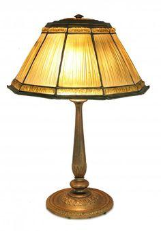 "TIFFANY STUDIOS (1899-1920) ""LINEN FOLD"" TABLE LAMP"