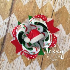Christmas hair bow holiday hair bow Santa by JoyfulJossyBowtique