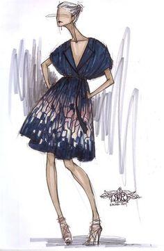 fashion sketch for Rachel Roy