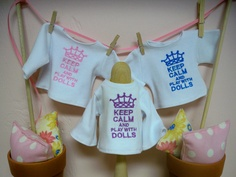 """Waldorf doll T-shirt for a 15"""" to 16"""" doll           Keep Calm and play with Dolls"""