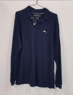 Tommy Bahama Mens Navy Blue 100% Supima Cotton Long Sleeve Polo Shirt Medium M #TommyBahama #PoloRugby